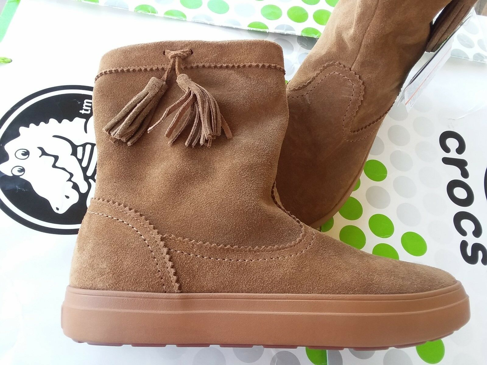 CROCS LODGEPOINT SUEDE PULL ON CROCBAND WINTER HIGH SNOW BOOT~Brown Tan~W 8~NWT