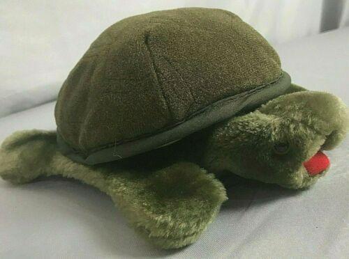 "FOLKMANIS Tortoise Turtle Hand Puppet Dark Green Plush Stuffed Animal Box 10/"""