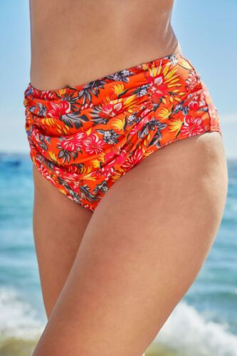 Women/'s Plus Size Orange Tropical Floral Print Bikini Briefs With Ruched Panel