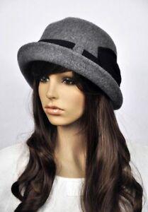 7197697f90f2e Details about Elegant Belt Bow Women s Roll-up Brim Wool Fedora Winter Hat  Derby Bucket Cap