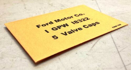 WWII Military Ford GPW GPA 18322 Valve Cap Envelope G503 G504