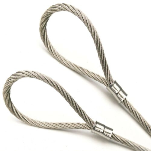 """70ft w// or w//o Loops Vinyl Coated Stainless Steel Cable 1//8/"""" 3//16/""""  7x19 1ft"""