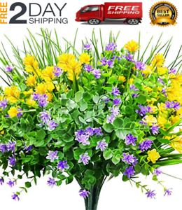 Artificial Fake Flowers 9 Bundles Outdoor Uv Resistant Greenery Shrubs Plants Ebay