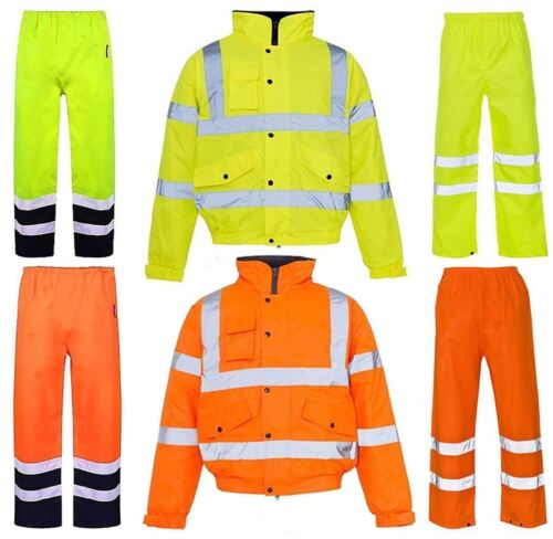High Visibility Waterproof Rain Coat /& Trouser Mens Reflective Jacket Trouser