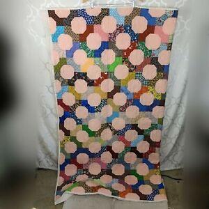 Vintage-Quilt-Coverlet-Patchwork-Hand-Made-Sz-Twin-Sunburst-Geometric-Folk-Art