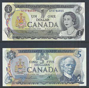 Bank of Canada Lot of 2 - $1/One and $5/Five Dollars 1973 & 1979, QE2 - AU* | eBay