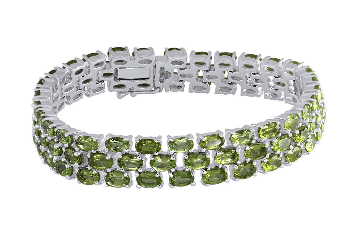 20.22 Ct Oval Cut Peridot 18K White gold Over Three Row Tennis Bracelet