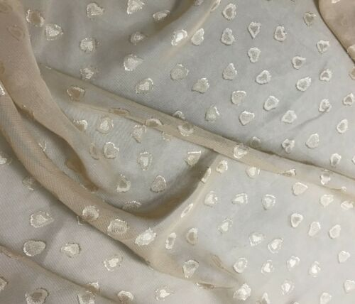 Beige Embroidered HEARTS 1//3 yard remnant Chiffon Fabric