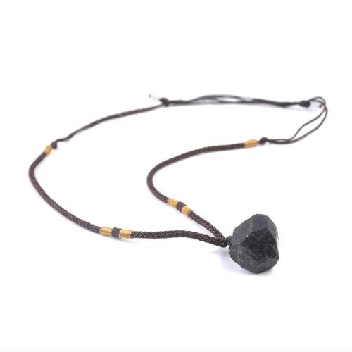 Women Men Natural Black Tourmaline Stone Pendant Necklace Crystal Gem Specimen