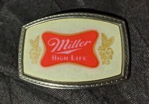 VERY-RARE-Vtg-Beer-Belt-Buckle-Miller-High-Life-Metal-Collectable-White-Red-Logo