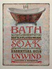 Bath Soak Unwind - Tin Metal Wall Sign