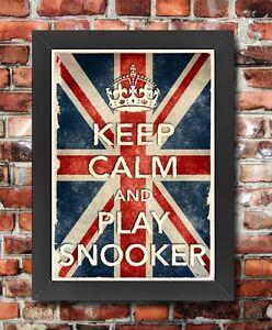 KCV24 Vintage Union Jack Keep Calm Play Snooker Funny Poster Print A2//A3//A4