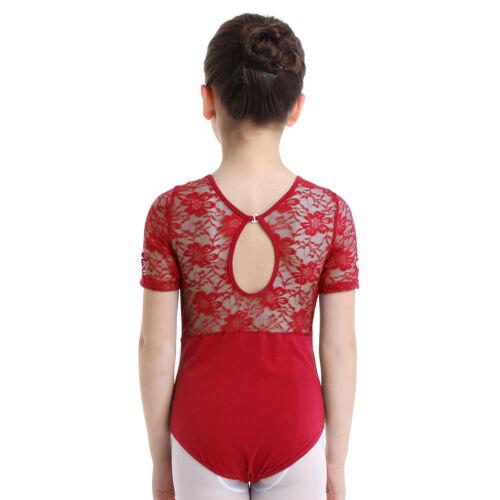 Girls Kids Ballet Dance Dress Leotard Gymnastics Floral Lace Dancewear Costume