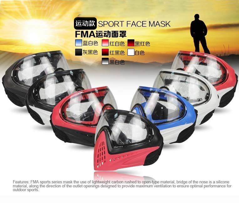 Outdoor FMA F1 Paintball Airsoft Safety Anti-fog Goggle Full Face Mask 25 colors