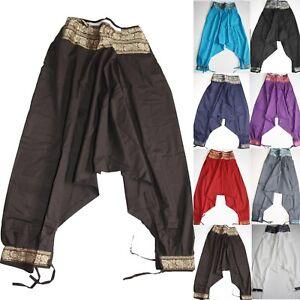 Pantalon-Pantalones-Anchos-Aladin-Comodo-hippie-bombachos-India-GOA-TRANCE-Sari
