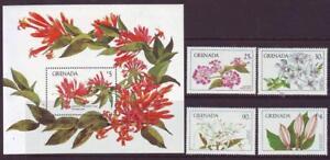 GRENADA-1984-FLOWERS-SET-4-MINISHEET-MINT-NEVERHINGED