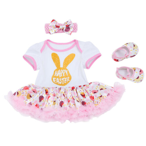 Baby Girls Easter Romper Dress Outfits with Headband Shoes 3pcs Clothes Sets