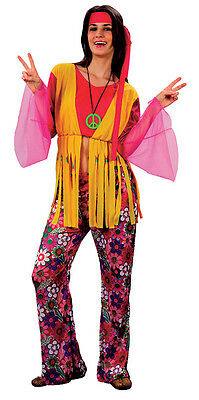 CHOOSE MALE OR FEMALE #HIPPY COSTUME 1970s FANCY DRESS LARGE EXTRA LARGE SIZE