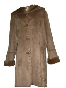Coldwater-Creek-Womens-outerwear-Winter-Whipstitch-faux-Suede-coat-jacket-size-M