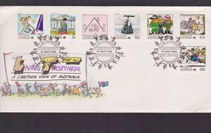 1988-LIVING-TOGETHER-A-CARTOON-VIEW-OF-Australia-FDC-N-43-bicentennial-theme