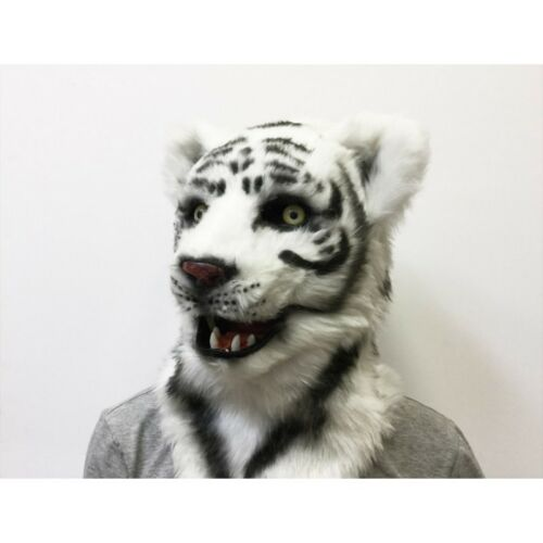 ADULT WHITE TIGER SNOW LEOPARD ANIMAL MOUTH MOVING COSTUME OVER THE HEAD MASK