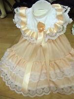 DREAM BABY PEACH SPOT ROMANY DRESS 0-3 3-6 6-12 MONTHS OR REBORN DOLL
