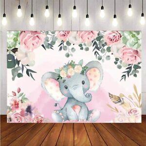 Bébé éléphant fond nouveau-né Filles Fête D'anniversaire Photo Background Bannière