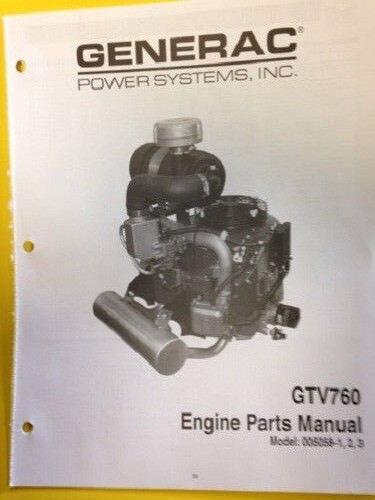 dixie chopper generac gtv 760 engine parts manual model 005056 0 1 rh ebay com