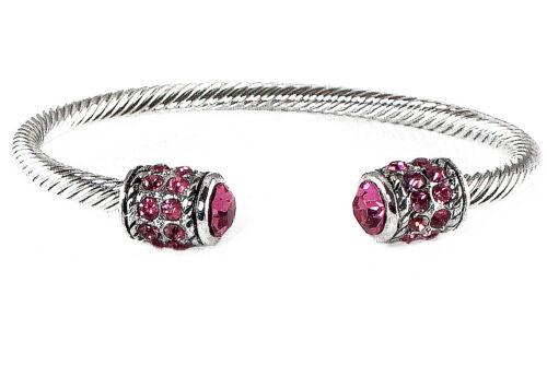 "Women/'s Bracelet Pink Crystal Rhinestone Silver Cuff Bangle Wire 7.25/"" Bali"