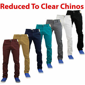 Mens-Chinos-Jeans-Skinny-Stretch-Slim-Straight-Leg-Pants-Trousers-All-Waist-Size