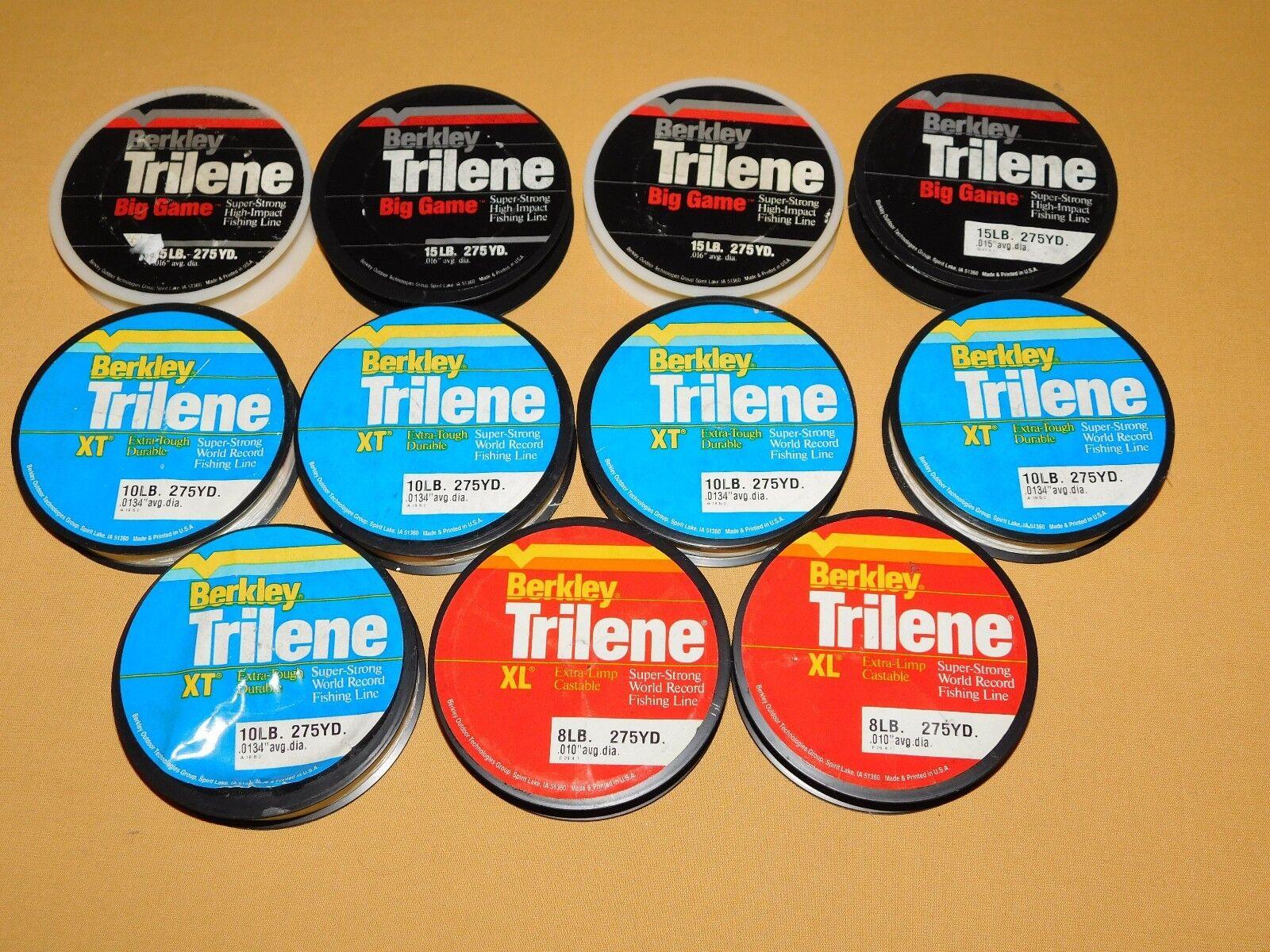 VINTAGE 11 SPOOLS BERKLEY TRILENE FISHING LINE  UNUSED 8 10 15 LB 275 YARDS  will make you satisfied