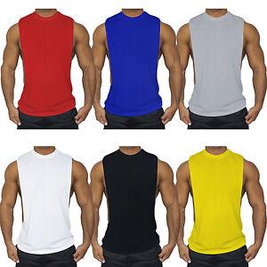 1486572f9 Men Tank Top Muscle T-Shirt Gym Tee Fitness Singlet Workout Vest ...