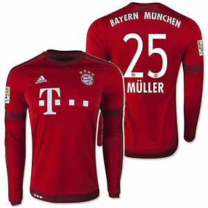 brand new 436af dfc81 Details about ADIDAS THOMAS MULLER BAYERN MUNICH LONG SLEEVE HOME JERSEY  2015/16.