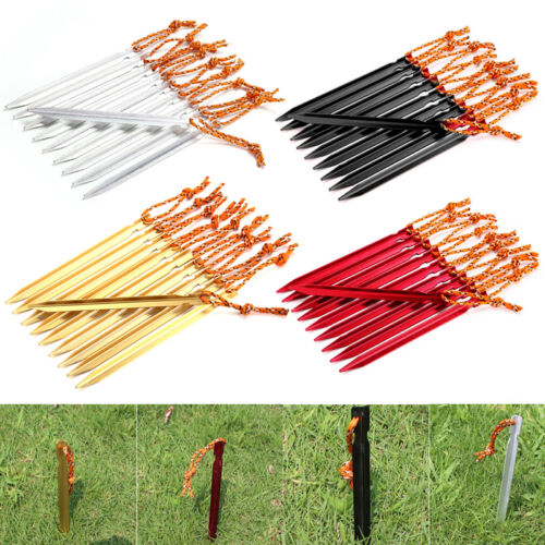 10 Pcs 18cm Tent Building Tent Peg Nail Alloy Stake Rope Camping Equipment