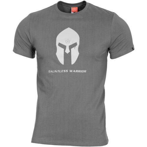 Pentagon Ageron T-Shirt Spartan Helmet Tactical Mens Gym Workout Top Wolf Grey