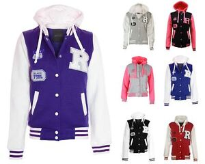 105eee13d Details about Womens Size Contrast Badge Baseball Hooded Varsity Plus  Button Jacket UK 16-28