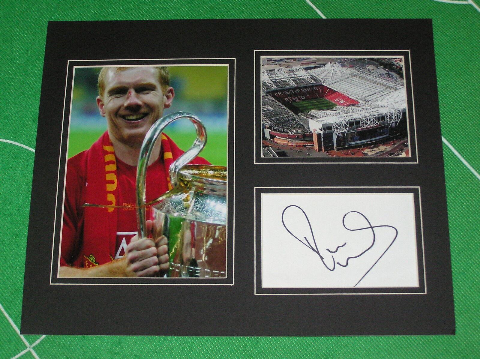 Paul Scholes Firmado Manchester United FC 2008 Liga de Campeones Final Marco