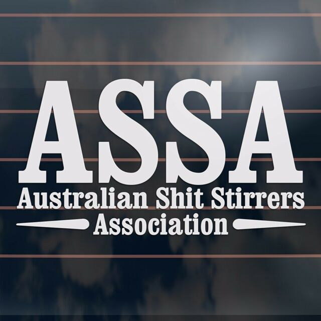 Assa australian shit stirrers association funny aussie car sticker 205mm