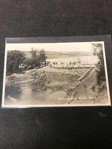 real-photo-Postcard-Riverside-Park-Birtle-Manitoba-Dam-And-Crowd-A1