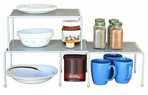 HOT Details about  /Expandable Stackable Kitchen Cabinet and Counter Shelf Organizer,Silver