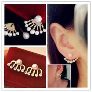 1 Pair Fashion Women Elegant Pearl Rhinestone Ear Stud Earrings Jewelry Vogue