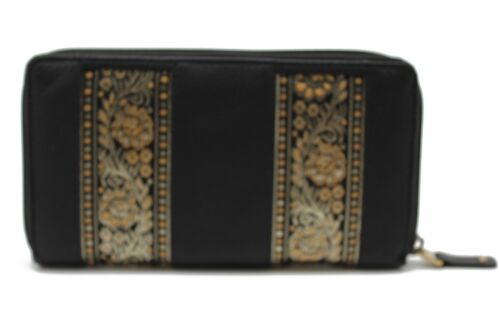 Women/'s Zip Around Purse Cow Leather Clutch Wallet Embroidery lace Bag 22 YL