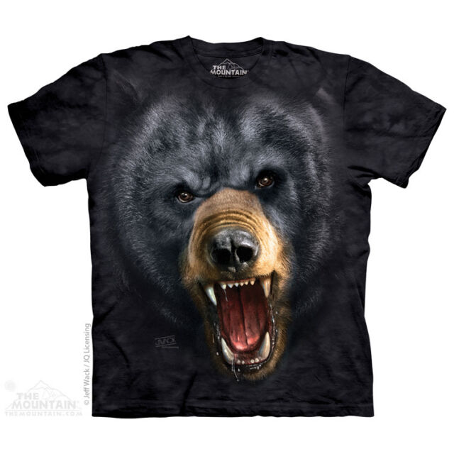 Aggressive Nature:Black Bear T-Shirt by The Mountain. Big Face Sizes S-5XL NEW