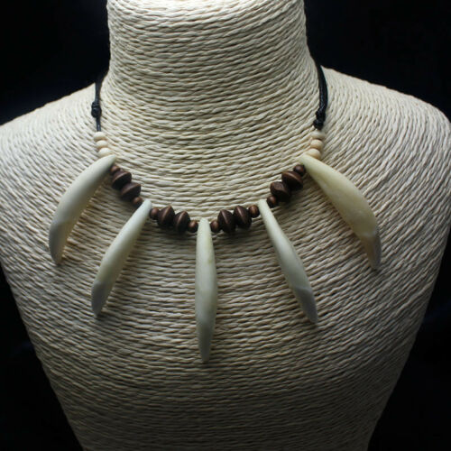Wolf Dents Collier Vrai dents blanches Indian Jungle Bless personnalité Accessoires