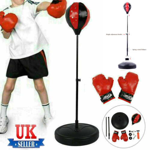 Punch Bag Ball Boxing Set and MITTS Gloves kit Free standing For Kids Training