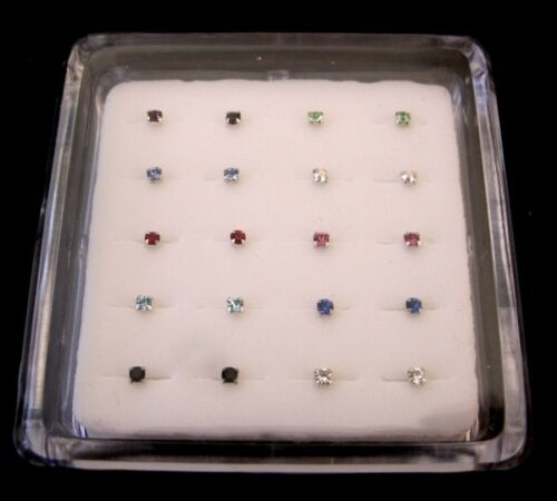 Flower Star Square Mixed Box of 20 Nose Studs 0.6mm Bar Choose 925 Silver