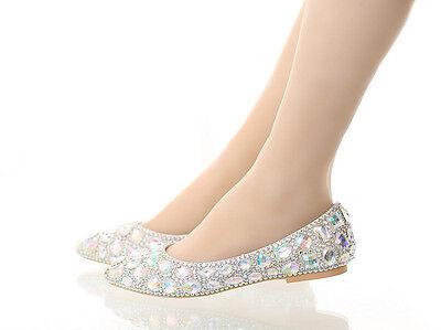 AB Crystal Iridescent Gems Bridal Wedding Flat Bridesmaid Prom Shoes size 3-9