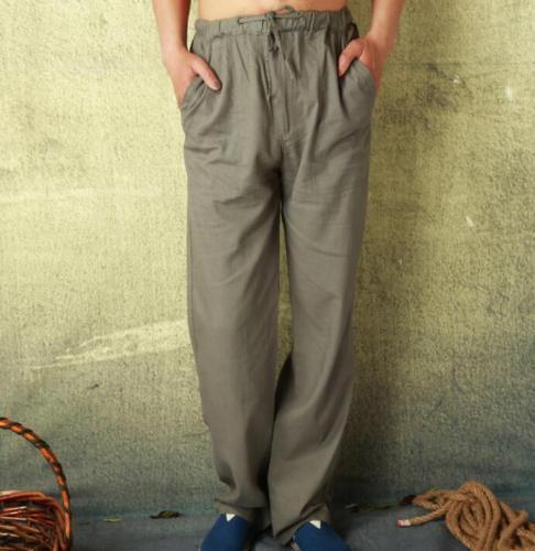 Men beach Pants loose Fit Trousers Sweatpants cotton linen trousers elastic New