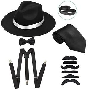 944b18e28 Details about Men's Roaring 1920s Gangster Costume - Deluxe Manhattan  Fedora Hat,Suspenders