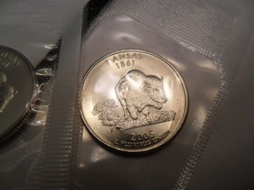 2 Coins 2005 P /& D Kansas Quarter Set *MINT CELLO*  **FREE SHIPPING**